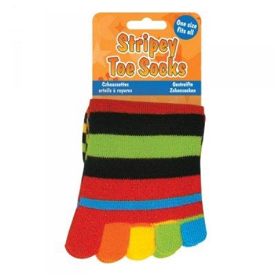 Pruhované prstové ponožky - bez třpytivých nitek