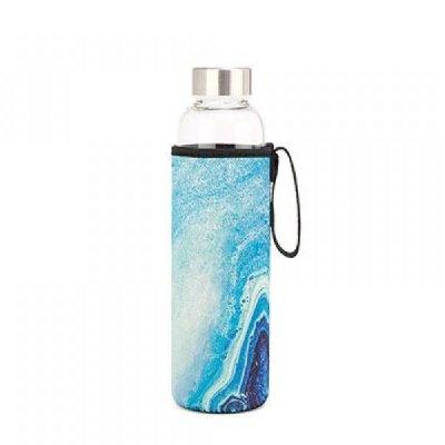 Skleněná láhev s modrým achátem