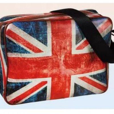 PVC taška přes rameno Union Jack s masivním popruhem