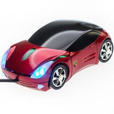 Počítačová myš - auto - červená