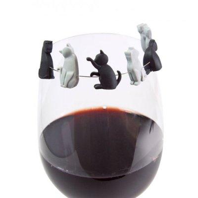 Označovač skleničky na párty - kočičky