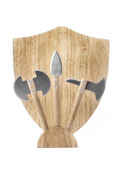 Kuchyňská sada středověkých zbraní na krájení sýrů