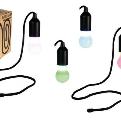 Žárovka na provázku barevná