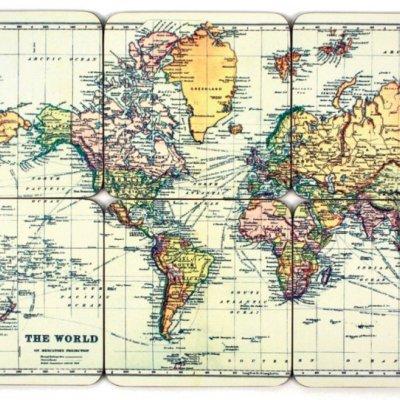 Podtácky s mapou světa