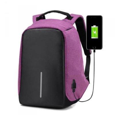 Bezpečnostní batoh s USB nabíječkou - fialový